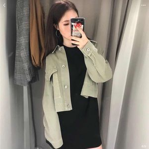 Zara 1975 Denim Crop Utility Jacket